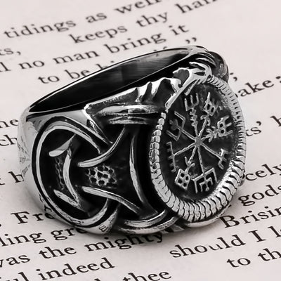 Viking Vegvisir Knot Ring Stainless Steel