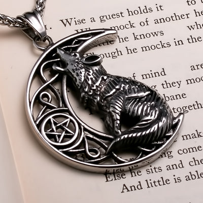Viking Fenrir Wolf Crescent Moon Stainless Steel Pendant Necklace