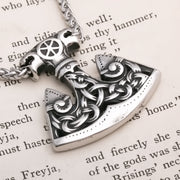 Viking Axe Norse Knot Stainless Steel Pendant Necklace