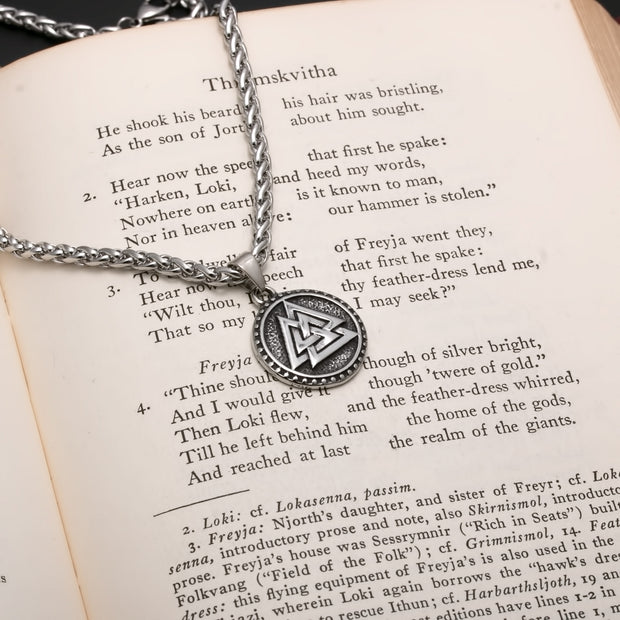 Viking Valknut Stainless Steel Pendant Necklace