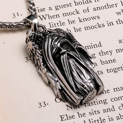 Viking Odin Ravens Stainless Steel Pendant Necklace
