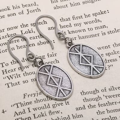 Viking Elder Futhark Rune Bind Ingwaz Isaz Earrings