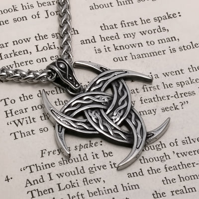 Viking Triple Crescent Horn Stainless Steel Pendant Necklace