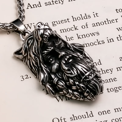 Viking Odin Wolf Stainless Steel Pendant Necklace