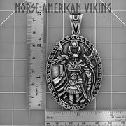Viking Odin Medallion Stainless Steel Pendant Necklace