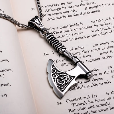 Viking Axe Knurled Handle Stainless Steel Pendant Necklace