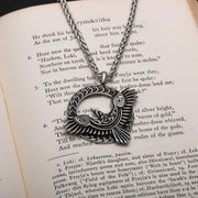 Viking Raven Circle Stainless Steel Pendant Necklace
