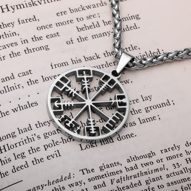 Viking Vegvisir Compass Open Stainless Steel Pendant Necklace