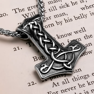 Viking Mjolnir Thor's Hammer Raven Plait Stainless Steel Pendant Necklace