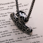 Viking Helm of Awe Axe Stainless Steel Pendant Necklace