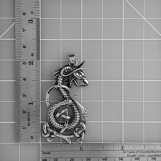 Viking Midgard Serpent Stainless Steel Pendant Necklace