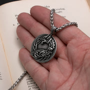 Viking Norse Dragon Medallion Stainless Steel Pendant Necklace