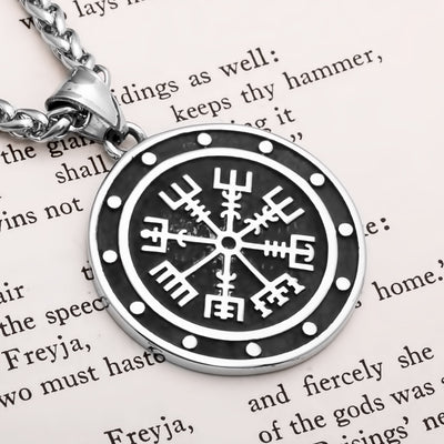 Viking Vegvisir Compass Stainless Steel Pendant Necklace