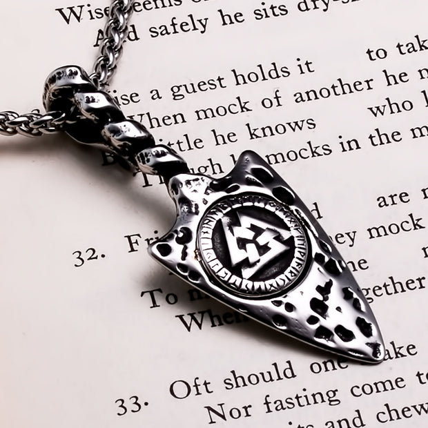 Viking Arrow Valknut Rune Stainless Steel Pendant Necklace
