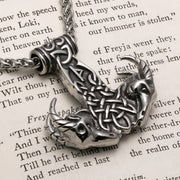 Viking Mjolnir Thor's Hammer Goat Head Stainless Steel Pendant Necklace