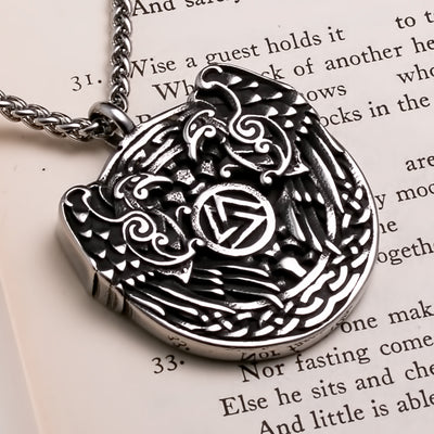 Viking Ravens Valknut Medallion Stainless Steel Pendant Necklace
