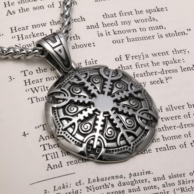 Viking Helm of Awe Premium Stainless Steel Pendant Necklace
