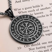 Viking Ancient Vegvisir Rune Medallion Stainless Steel Pendant Necklace