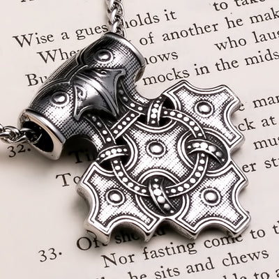 Viking Mjolnir Thor's Hammer Raven Cross Stainless Steel Pendant Necklace