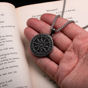 Viking Ancient Sun Rune Medallion Stainless Steel Pendant Necklace