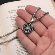 Viking Mini Vegvisir Stainless Steel Pendant Necklace