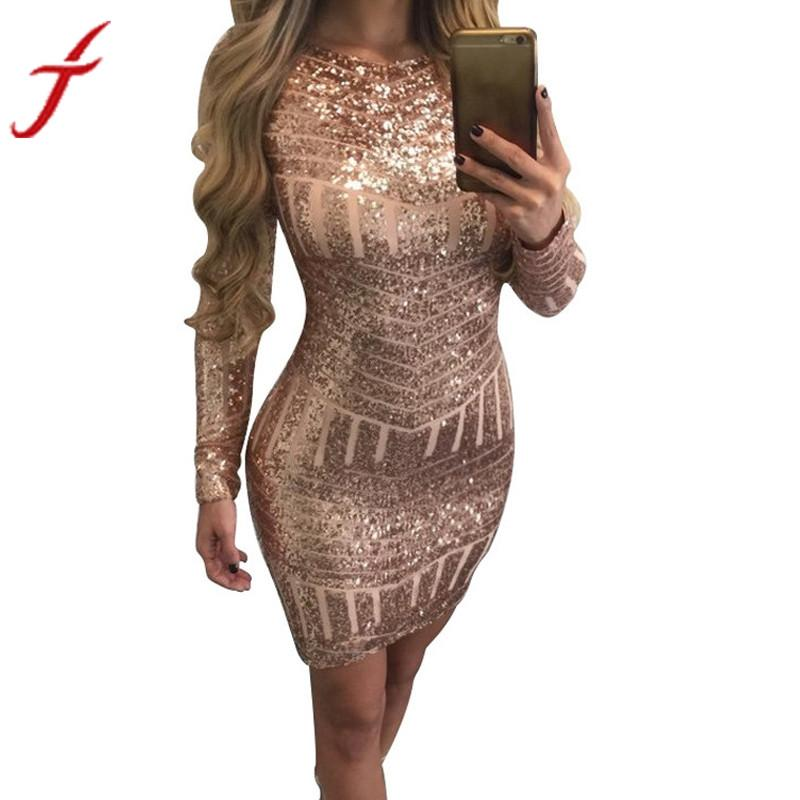 Classics Sexy Long Sleeves Sequined Dress