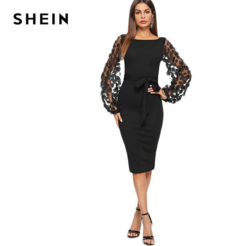 SHEIN Black Party Elegant Flower Dress