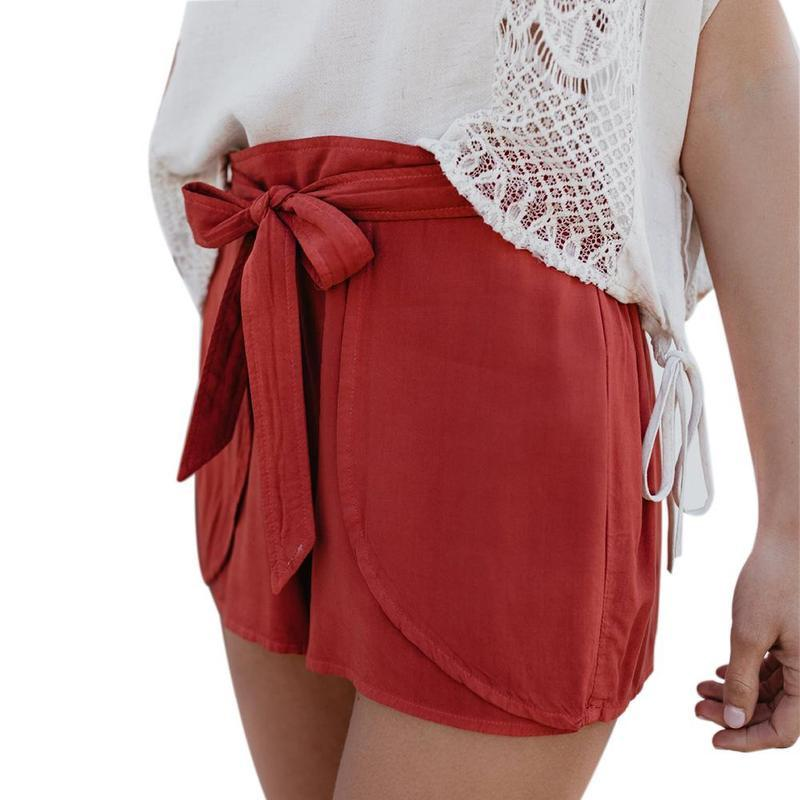 Woman Red Shorts Pants
