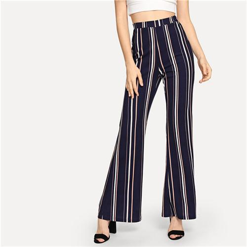 SHEIN Navy Office Lady Highstreet Striped Elastic Waist Flare Leg Elegant Pants