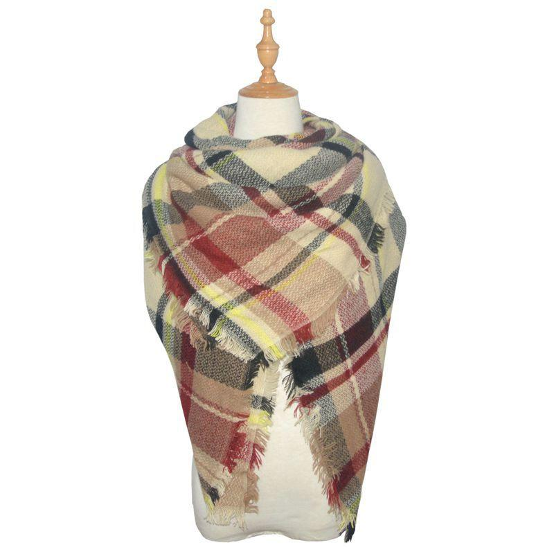 Classic Tassel Plaid Scarf Warm Soft & Chunky
