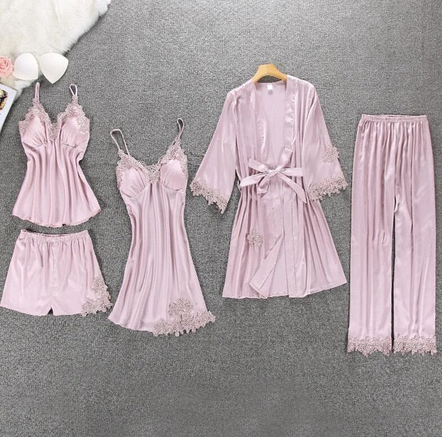 5 Pieces Satin Sleepwear Pijama