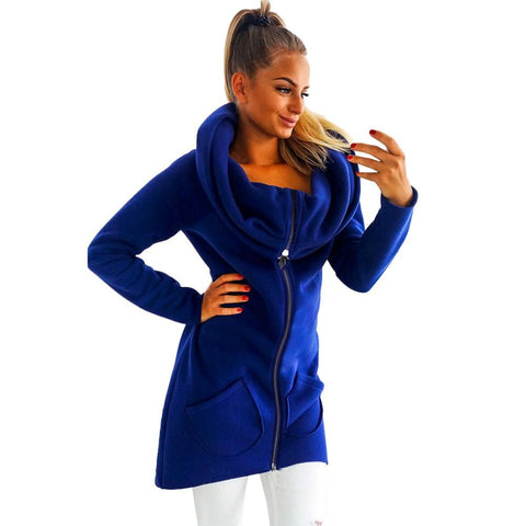 Solid Color Clothes Hoodie Zipper Coat