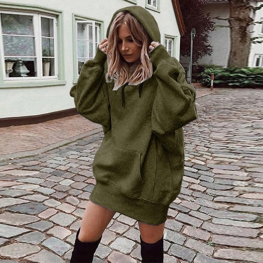 Solid Color Hoodie Large Pullover Coat
