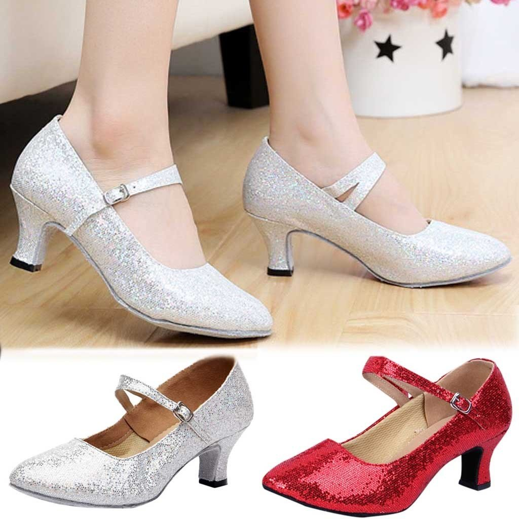 Mid-High Heels Glitter Dance Shoes