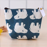 Small Fresh Print Cotton Linen Wallet Cute Pattern Cartoon Money Change Purse