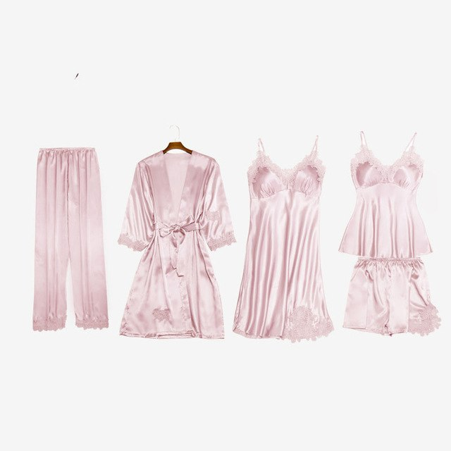5 Piece Silk robes Bathrobe Set