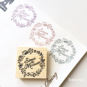 Floral wreath couple wedding stamp
