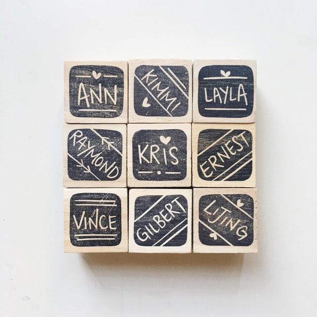 English square name stamp