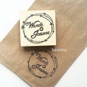 Couple name in hearts border wedding stamp