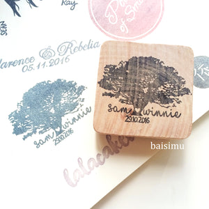 Tree silhouette save-the-date wedding stamp