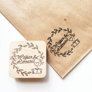 Floral border wedding stamp