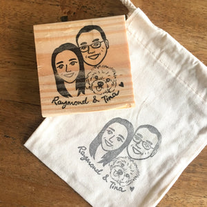 Custom caricature with pet stamp