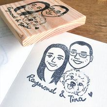 Load image into Gallery viewer, Custom caricature with pet stamp
