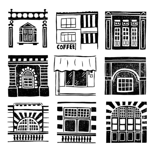 PNG Digital files - Singapore Building stamped images modular style