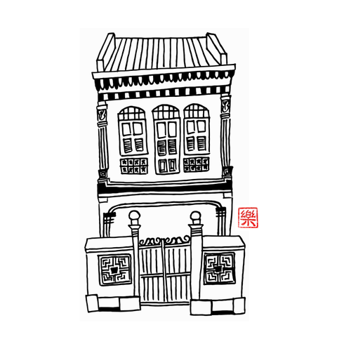 Vector PDF Printable art - Singapore Old Shop House