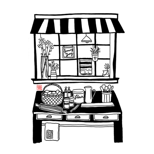 Vector PDF Printable art - Kitchen on a Sunny Day