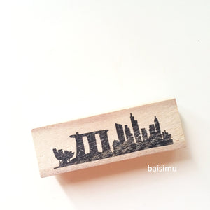 Singapore city skyline stamp