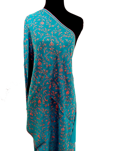 Awesome Blue Pashmina stole (Hand embroidered in Kashmir)