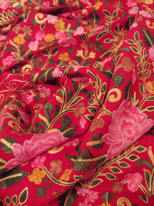 Kashmiri red Ari embroidery stole (wrap)