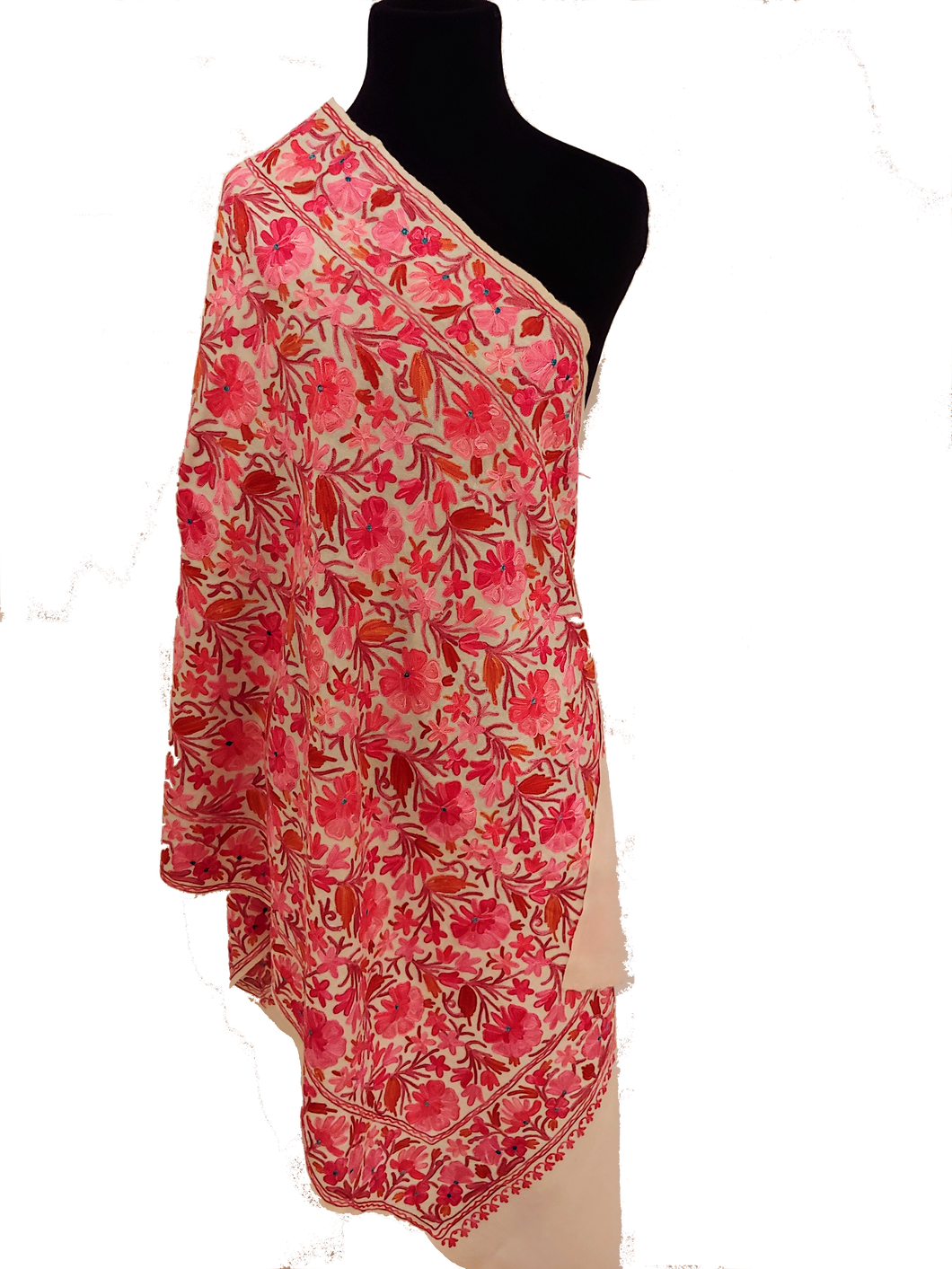 Kashmir Pink Ari embroidered stole
